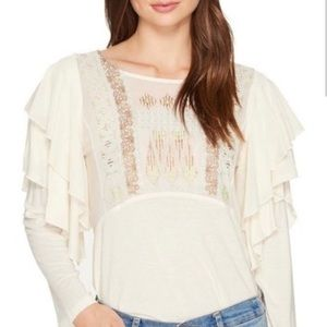 Free People Embroidered Ruffle Long Sleeve Top